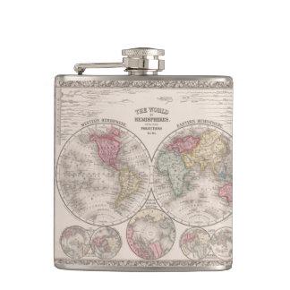 The world 1860 - Eastern & Western hemispheres Hip Flask