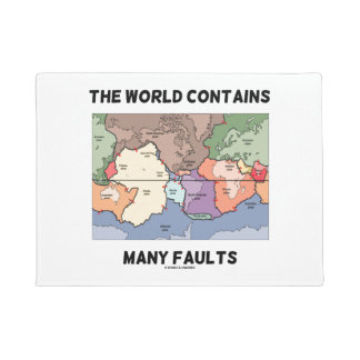The World Contains Many Faults Earthquake Humor Doormat