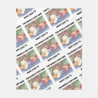 The World Contains Many Faults Earthquake Humor Fleece Blanket