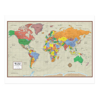 The World Contemporary Elite Map Postcard