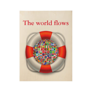 The world flows wood poster