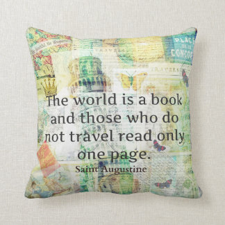 The world is a book travel quote cushion