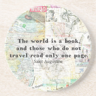 The world is a book TRAVEL QUOTE Drink Coasters