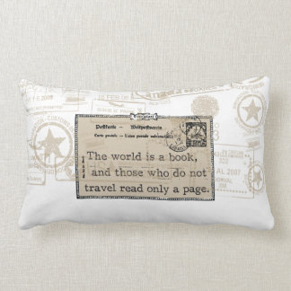 """The World is a Book"" Vintage Travel Throw Pillow Cushions"