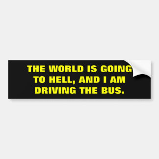 THE WORLD IS GOING TO HELL BUMPER STICKER