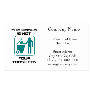 The World Is Not Your Trash Can Icon Pack Of Standard Business Cards