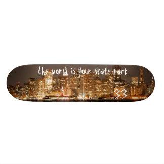 the world is your skate park 21.6 cm old school skateboard deck