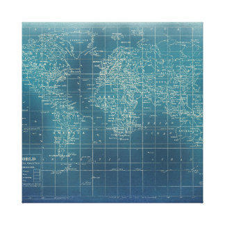 The World Map - grunge teal edition Canvas Print