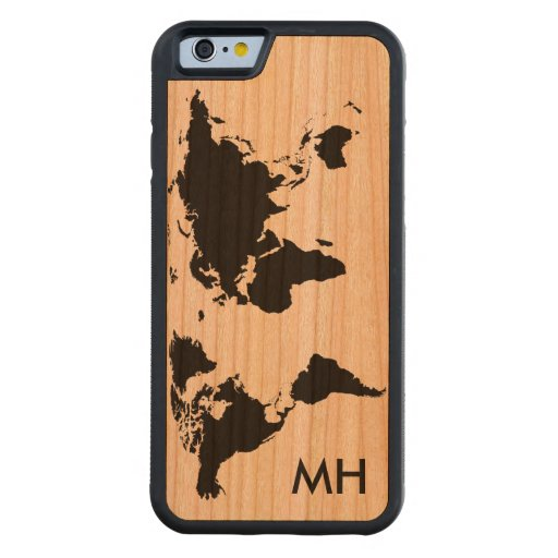 the world map personalized carved® cherry iPhone 6 bumper