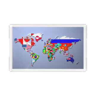 The World Map With Their Flags Acrylic Tray