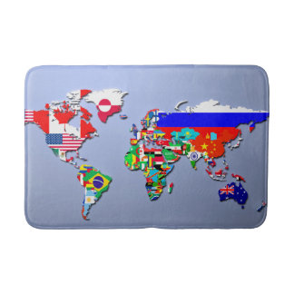 The World Map With Their Flags Bath Mats