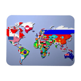 The World Map With Their Flags Magnet