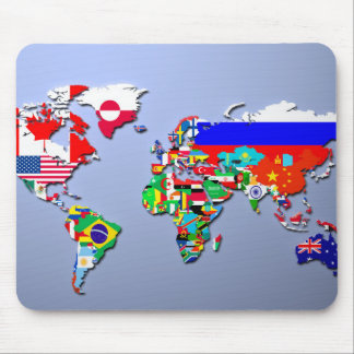 The World Map With Their Flags Mouse Pad