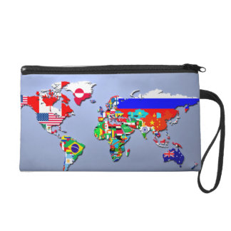 The World Map With Their Flags Wristlet
