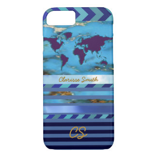 the world, stripes & name on turquoise-blue iPhone 7 case