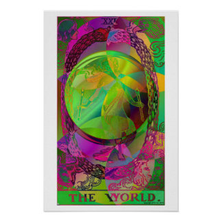 The World Tarot Card Psychedelic Poster