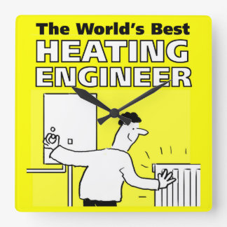 The World's Best Heating Engineer Square Wall Clock