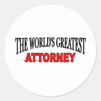 The World's Greatest Attorney Round Sticker