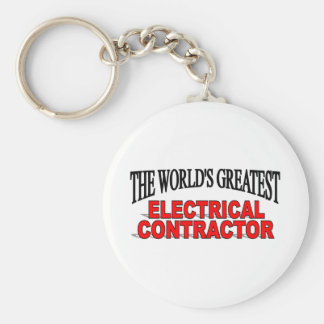 The World's Greatest Electrical Contractor Basic Round Button Key Ring