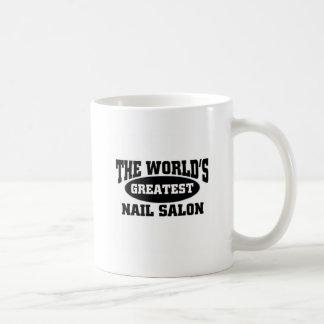 The world's greatest nail salon basic white mug