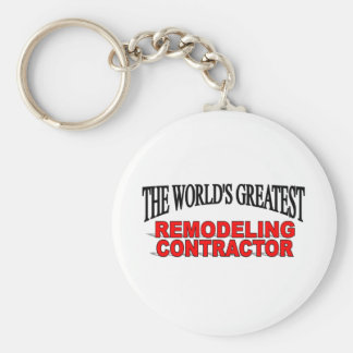 The World's Greatest Remodeling Contractor Basic Round Button Key Ring