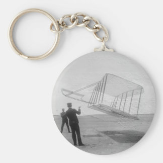 The Wright Brothers test flight Basic Round Button Key Ring