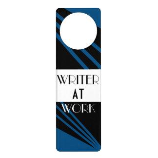 The Writer's Lounge Classy Blue Black White Door Hanger