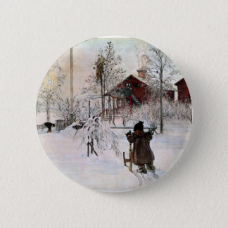 The Yard and Wash-House, Carl Larsson 6 Cm Round Badge