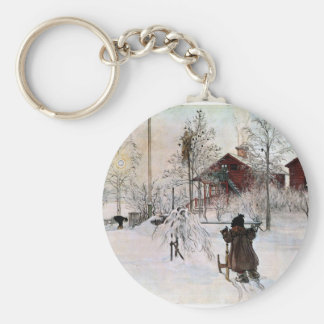 The Yard and Wash-House, Carl Larsson Basic Round Button Key Ring