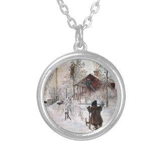The Yard and Wash-House, Carl Larsson Silver Plated Necklace