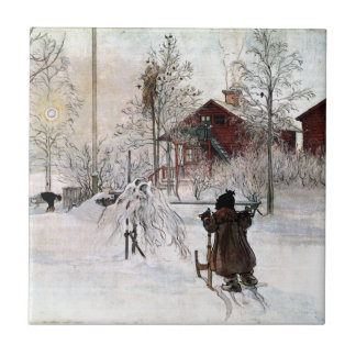 The Yard and Wash-House, Carl Larsson Small Square Tile