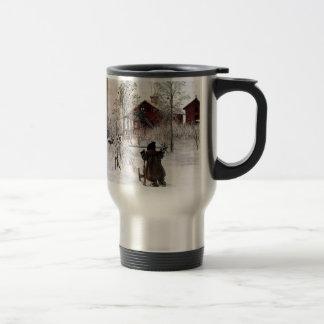 The Yard and Wash-House, Carl Larsson Travel Mug