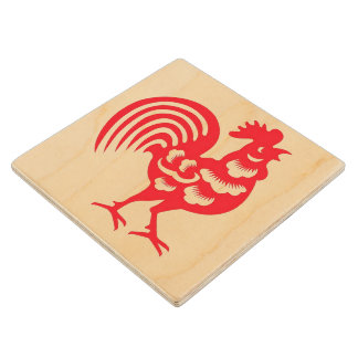 """The Year of the Rooster"" Wood Coaster"