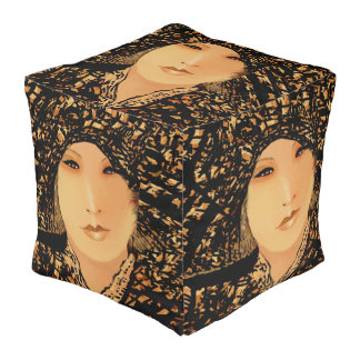 The Year of the Woman 2018 on Black/Tan/Creme Pouf