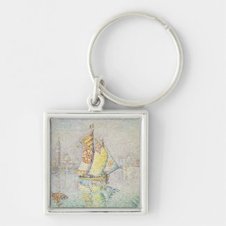 The Yellow Sail, Venice, 1904 Silver-Colored Square Key Ring