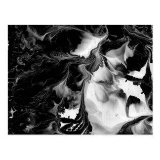 THE YIN & THE YANG (black & white abstract art) ~. Postcard