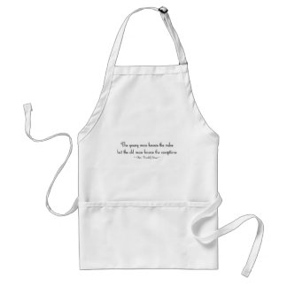 The young man knows the rules... standard apron