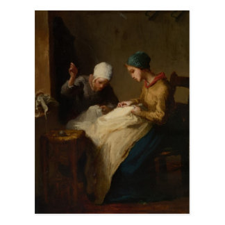 The Young Seamstress by Jean-Francois Millet Postcard