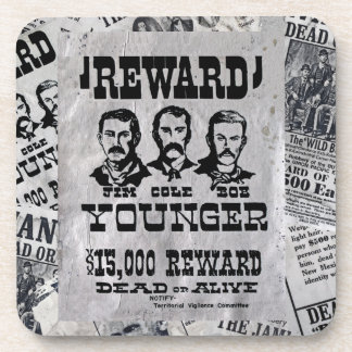 The Younger Brothers Wanted Poster Coaster