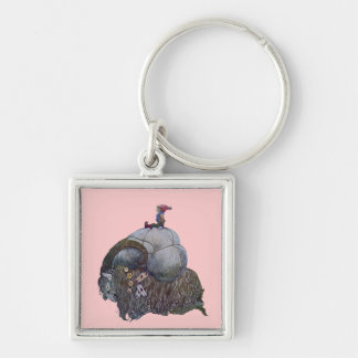 The Yule Goat Silver-Colored Square Key Ring