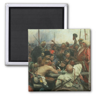 The Zaporozhye Cossacks writing a letter Square Magnet