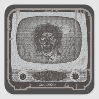 the Zombie! On TV~Lite Red Square Sticker