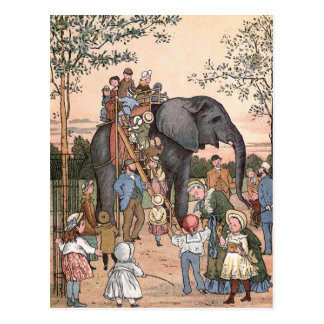 """The Zoo"" Vintage Illustration Postcard"