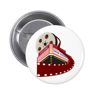 theater cinema building with film reel rolling out button