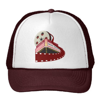 theater cinema building with film reel rolling out trucker hat