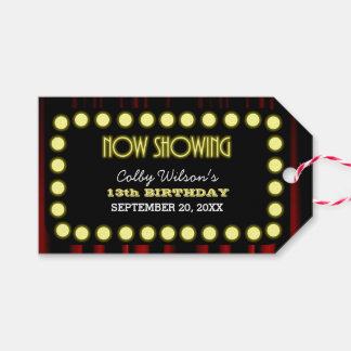 Theater Lights Movie Marquee Party Favor Tags