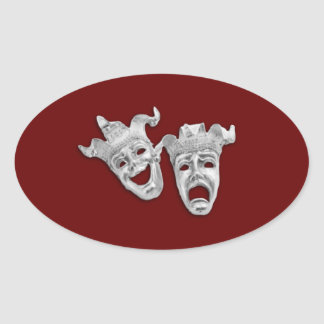 Theater Masks Design Maroon Oval Sticker