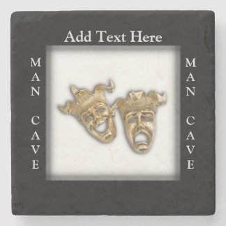 Theater Masks Man Cave Personalized Stone Coaster