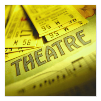 Theater Sheet Music & Tickets 5.25x5.25 Square Paper Invitation Card