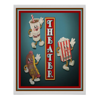 Theater Snack Bar Characters Print 16x20